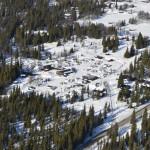 Flyfoto av Trabelia hyttegrend og camping