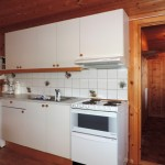 Kjøkkenet i hytten med komfyr, kjøleskap, vask og skap